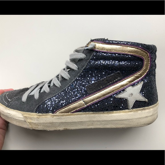 5904e058f512 Golden Goose Shoes - Golden Goose Navy Glitter Hi-Top 8045 Sneaker